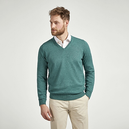 Green Cotton Cashmere V-Neck Jumper