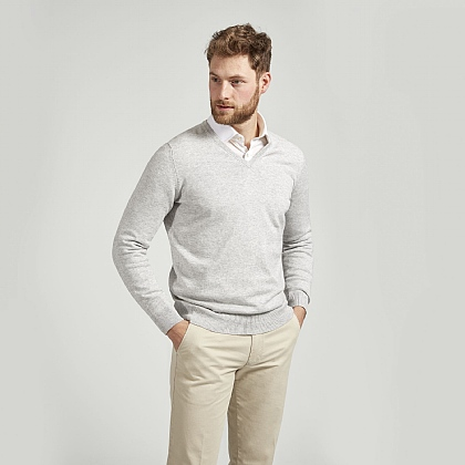 Dove Grey Cotton Cashmere V-Neck Jumper