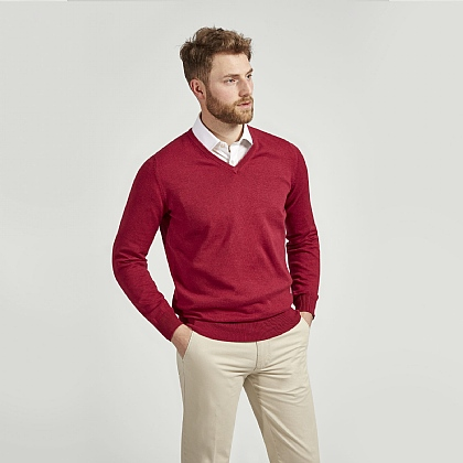 Claret Red Cotton Cashmere V-neck Jumper