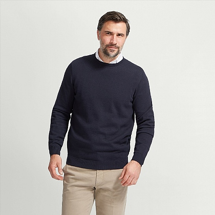 Navy Cotton Cashmere Crew Neck Jumper