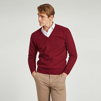 Burgundy V Neck Lamsbwool Jumper