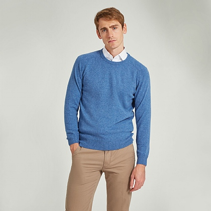 Jeans Blue Crew Neck Lamsbwool Jumper