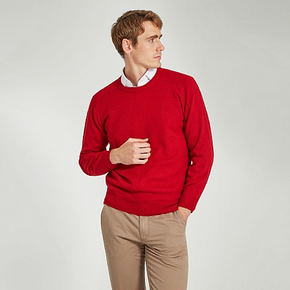 Red Crew Neck Lamsbwool Jumper