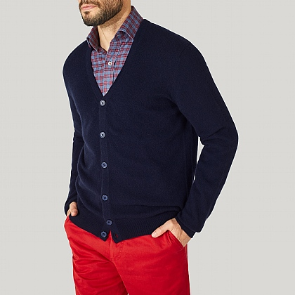 Navy 100% Cashmere Cardigan