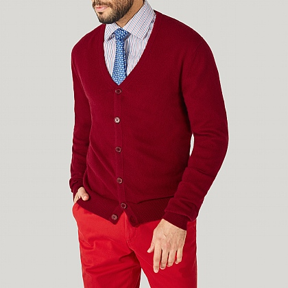 Red 100% Cashmere Cardigan