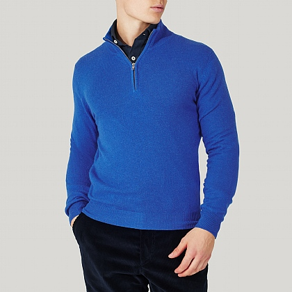 Blue Zip Neck Cashmere Knitwear
