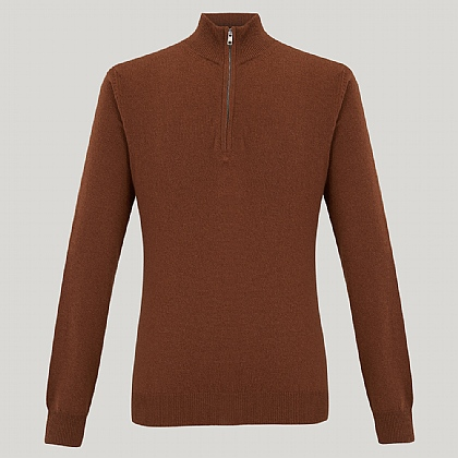 Brown Zip Neck Cashmere Knitwear