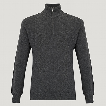 Grey Zip Neck Cashmere Knitwear