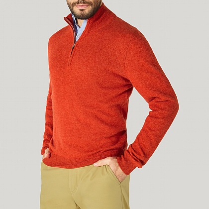 Orange Zip Neck Cashmere Knitwear