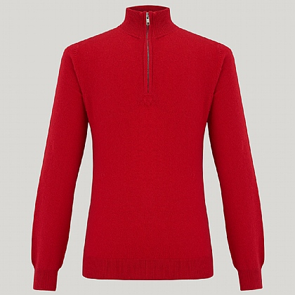 Red Zip Neck Cashmere Knitwear