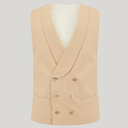 Beige Double Breasted Linen Morning Waistcoat