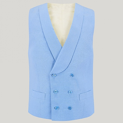 Sky Blue Double Breasted Linen Waistcoat