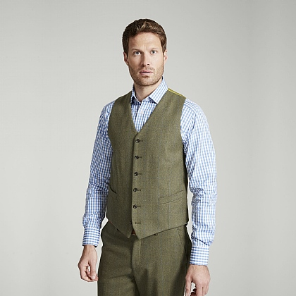 Green Tweed Blue and Yellow Overcheck Waistcoat