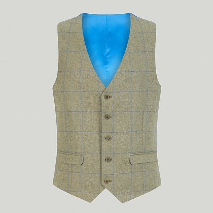 Sage Green Wool and Cotton Check Waistcoat