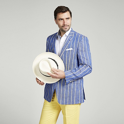 Blue and Yellow Stripe Boating Jacket