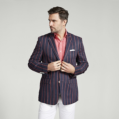 Navy and Red Stripe Boating Jacket