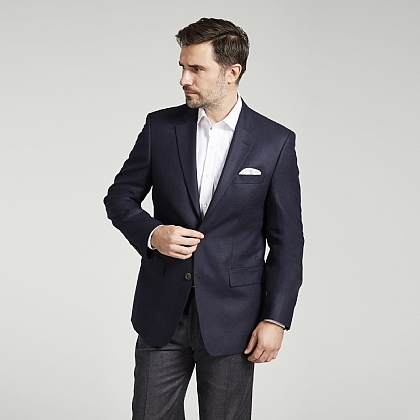 Navy Silk and Wool Jacket
