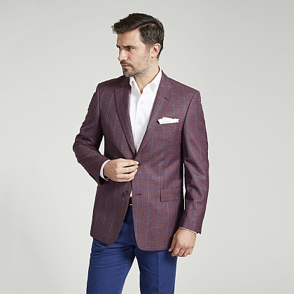 Plum and Blue Check Jacket