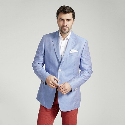 Sky Linen and Cotton Unstructured Jacket