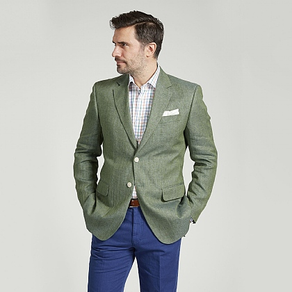 Green Herringbone Linen Jacket