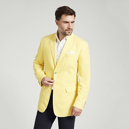 Yellow Casual Cotton Jacket