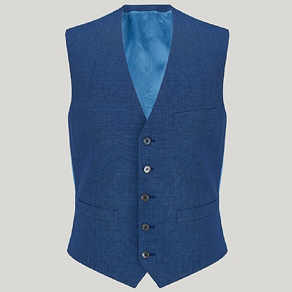 Blue Linen and Wool Mix Waistcoat
