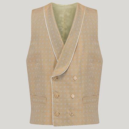 Beige Double Breasted Silk Mix Waistcoat