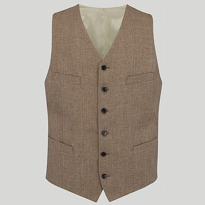 Biscuit Single Breasted Linen Waistcoat
