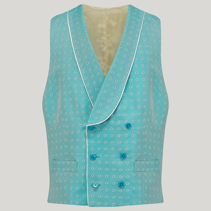 Blue Double Breasted Silk Mix Waistcoat