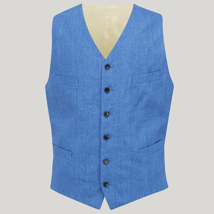 Blue Single Breasted Linen Waistcoat