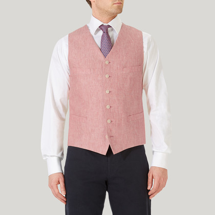 Red Single Breasted Linen Waistcoat