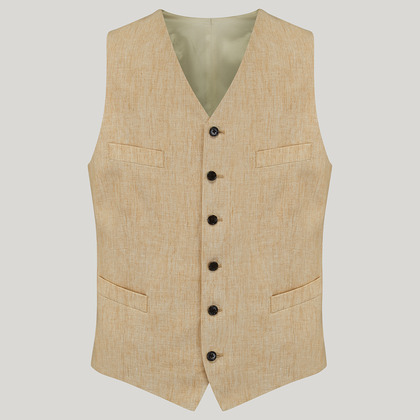Yellow Single Breasted Linen Waistcoat