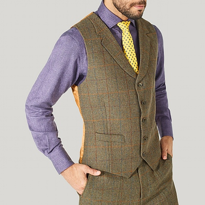 Green and Orange Check Lovat Tweed Waistcoat