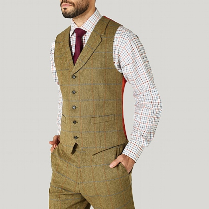 Green and Blue Check Tweed Waistcoat