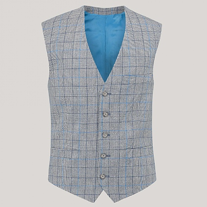 Grey and Blue Prince of Wales Waistcoat