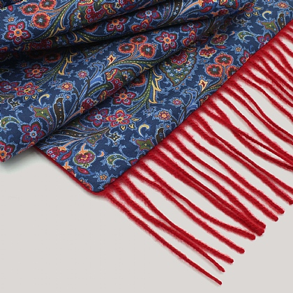 Silk Pretty Paisley Red Wool Back Scarf