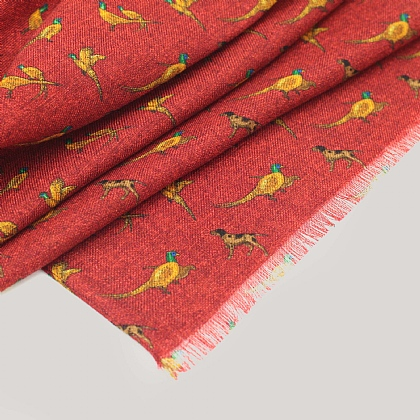 Brick Red Wool Pheasant Scarf