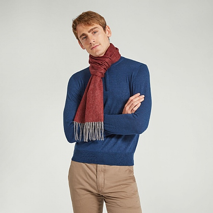Bordeaux Wool and Cashmere Twill Scarf