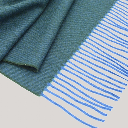 Green Blue Marl Wool and Cashmere Twill Scarf