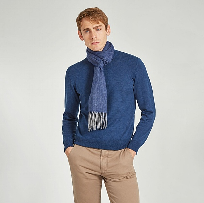 Navy Wool and Cashmere Twill Scarf