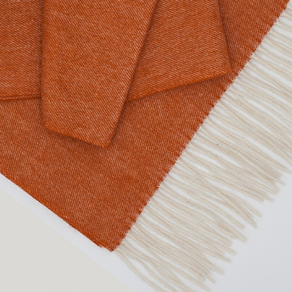 Orange Wool and Cashmere Twill Scarf