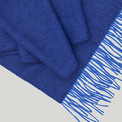 Sky Blue Wool and Cashmere Twill Scarf