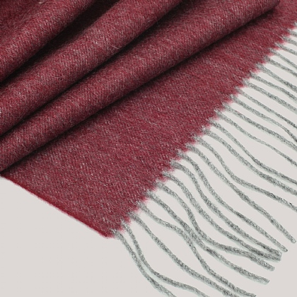 Raspberry Wool and Cashmere Twill Scarf