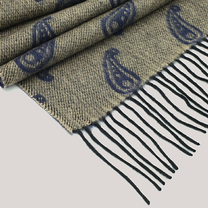 Taupe Wool and Cashmere Twill Scarf