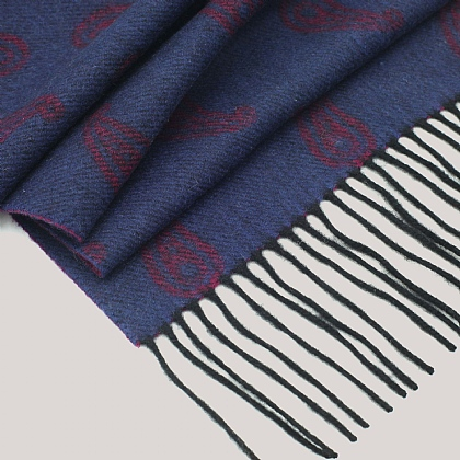 Cranberry Wool and Cashmere Twill Scarf