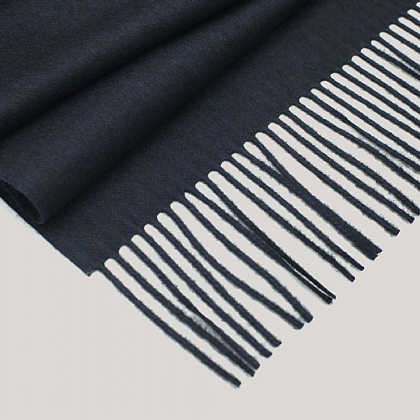 Navy Silk and Cashmere Luxury Scarf