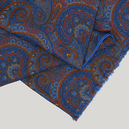 Blue and Red Paisley Blue Reverse Silk Scarf