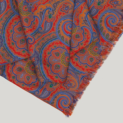 Orange and Blue Paisley Sky Reverse Silk Scarf