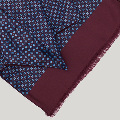 Bordeaux Motif with Bordeaux Reverse Silk Scarf