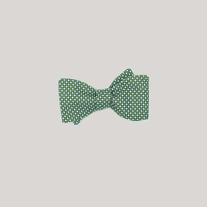 Green Neat Circles Printed Silk Bow